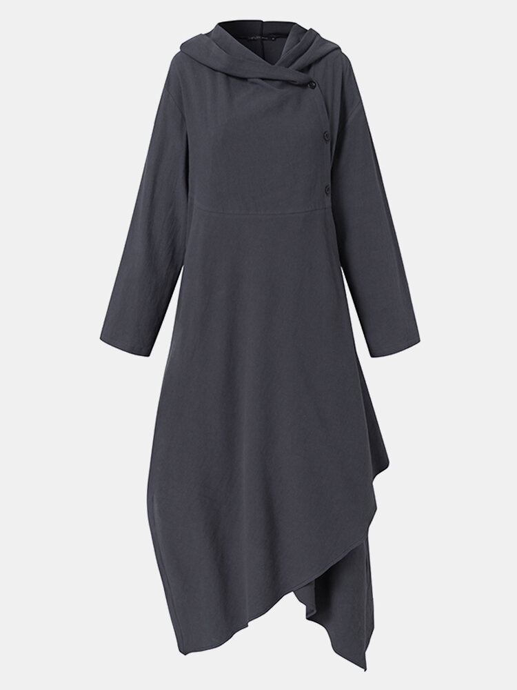 Solid Color Button Asymmetrical Hem Long Sleeve Casual Hooded Coat