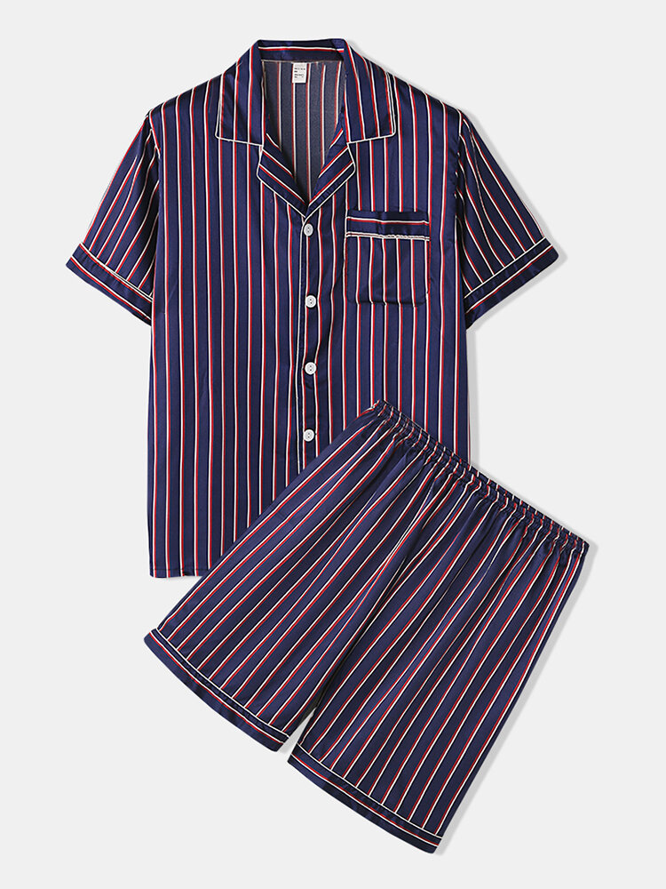 Casual Striped Faux Silk Pajamas Lapeal Collar Button Up Smooth Thin Nightwear for Men