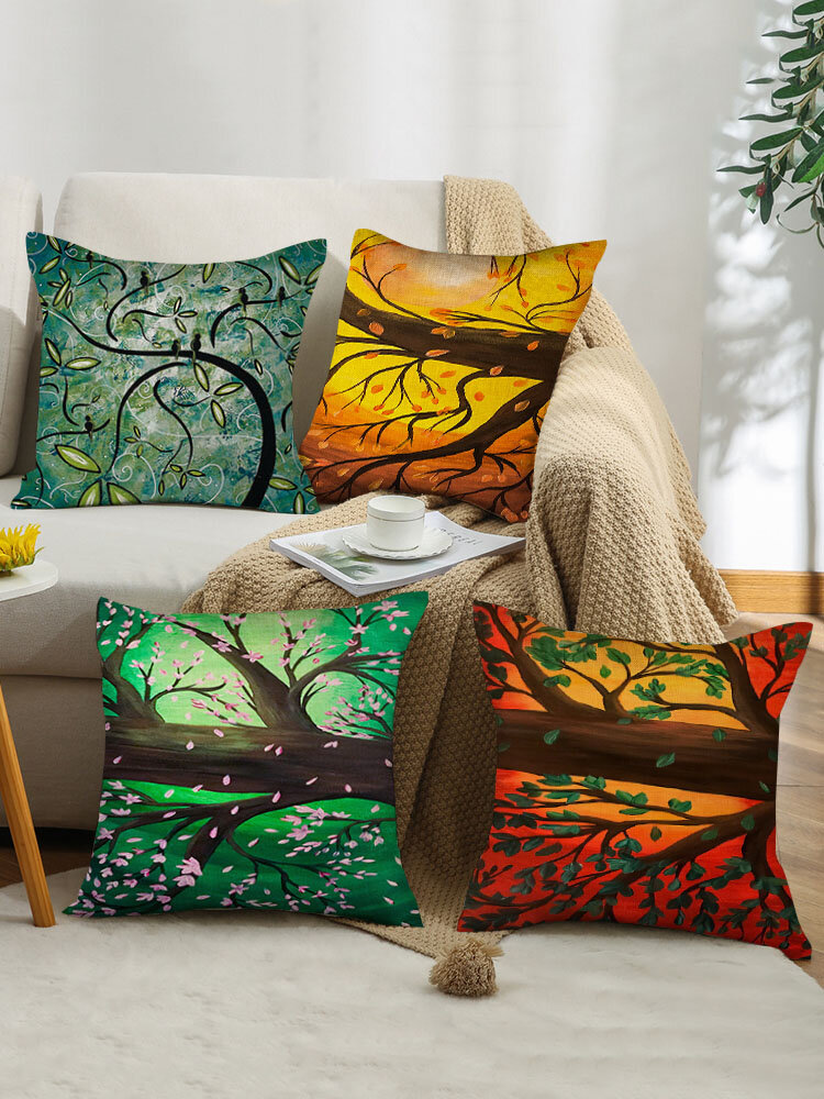 4 Pcs Landscape Oil Painting Colorful Tree Blooms Print Pillowcase Throw Pillow Cover Linen Sofa Home Car Cushion Cover