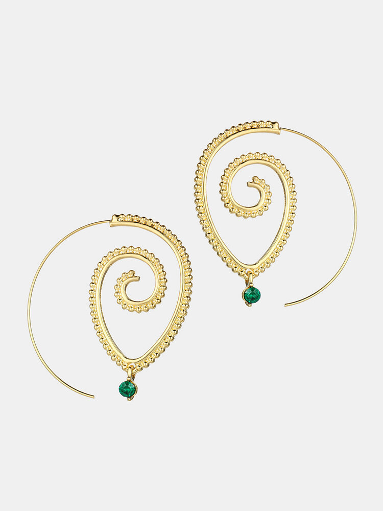Exaggerated Spiral Drop Shape Big Circle Hoop Gold Silver Conch Earrings Gift for Her