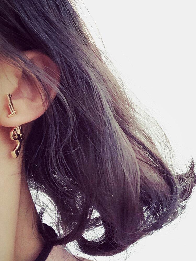 Punk Unisex Silver Gold Color Gun Earrigs 925 Sterling Silver Needle Ear Jacket Earrings