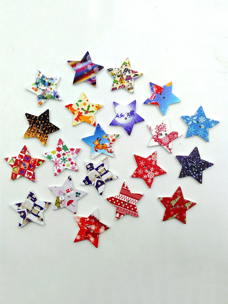 50 Pcs Five Stars Shaped Wooden Decoration Buttons Two Holes Sewing Buttons