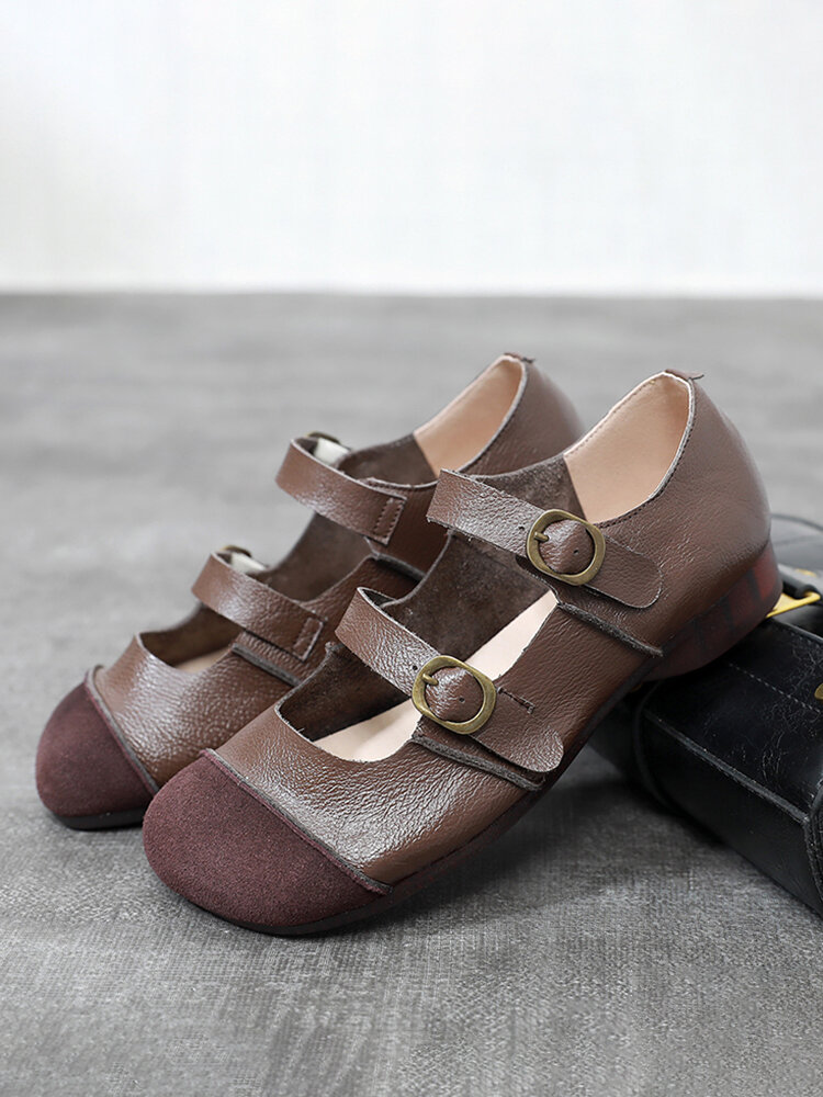 Women Vintage Ethnic Splicing Leather Double Strap Metal Buckle Comfy Round Toe Casual Flat Shoes