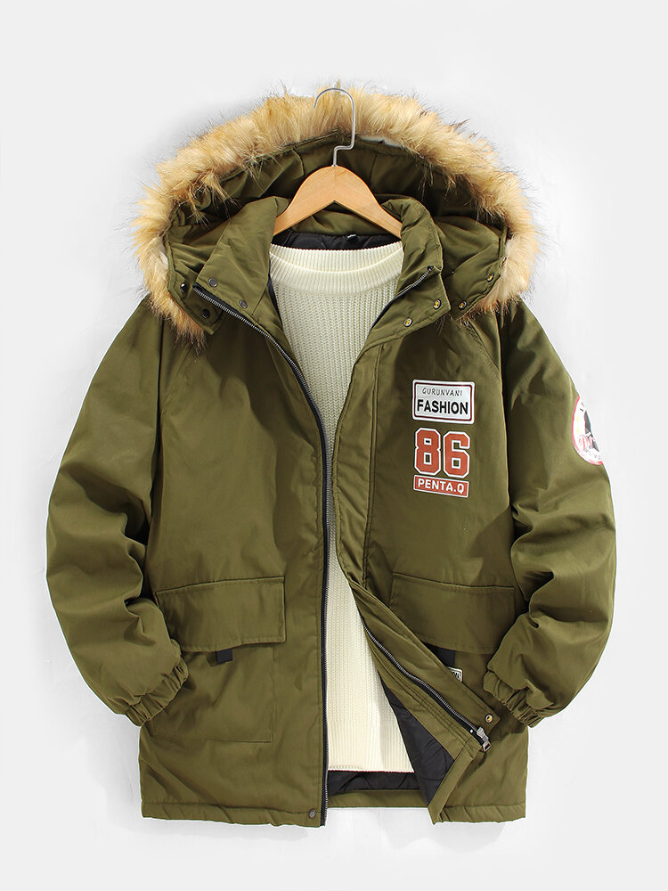 Mens Applique Thicken Faux Fur Hooded Casual Warm Jacket