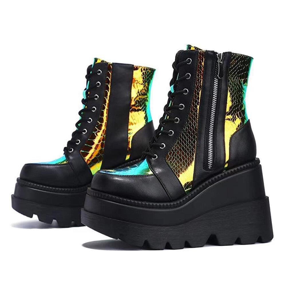 Большие размеры Женское Модные прогулочные туфли на танкетке на платформе со шнуровкой Ботинки