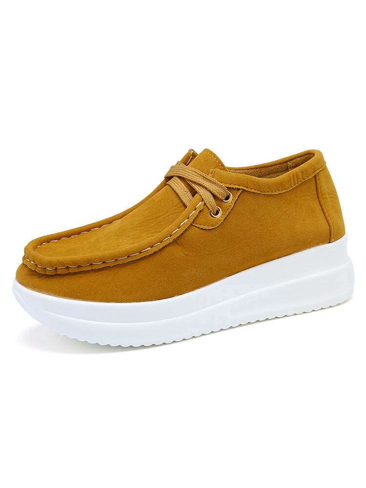 Women's Soft Lace-up Casual Large Size Wedges Sports Shoe