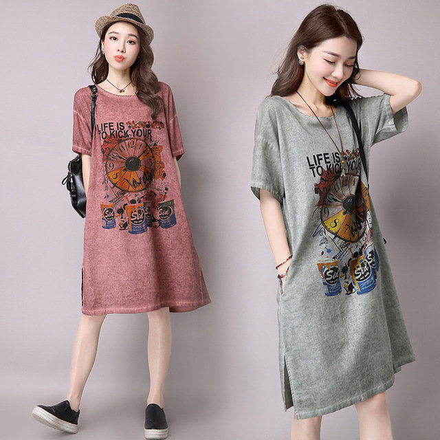 Loose Printed Short-sleeved Cotton And Linen Dress
