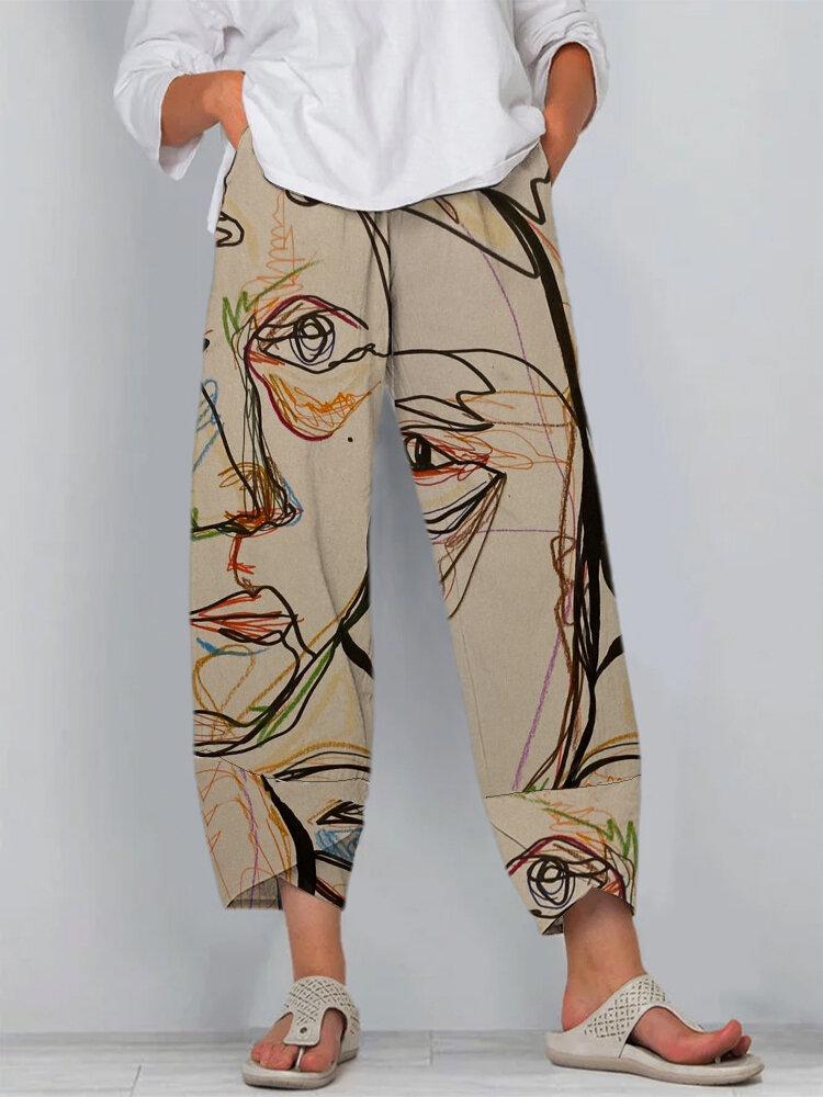 Kunst Illustration Vintage Druck Schlitz Saum Casual Pants With Pocket