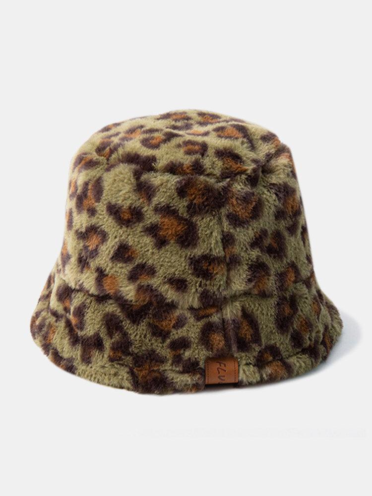 Women & Men Felt Leopard Pattern Casual Soft All-match Outdoor Travel Bucket Hat