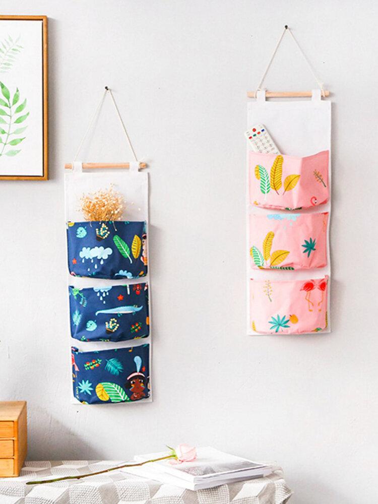 Waterproof 3 Pocket Household Hanging Bags Cartoon Wall Debris Storage Bag