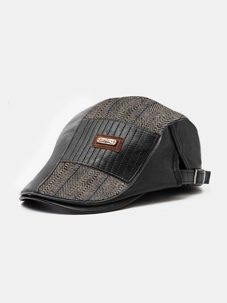 Men Stripe Leather Patchwork Fashion Beret Flat Cap Personality Forward Hat