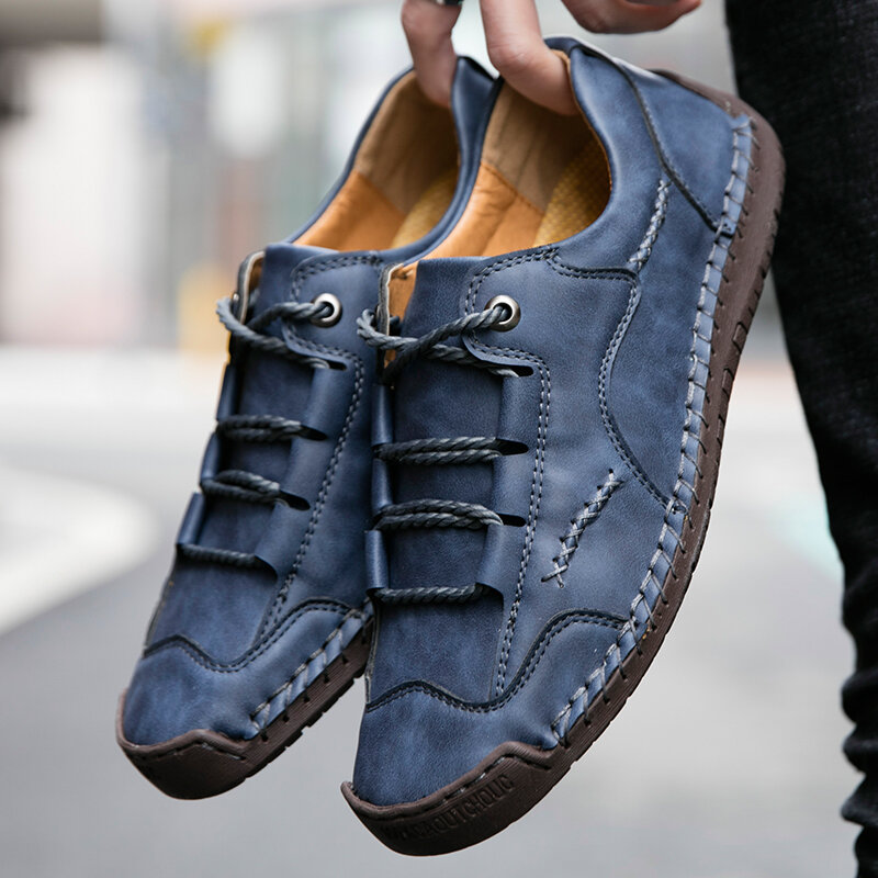 Men Hand Stitching Outdoor Soft Lace Up Microfiber Leather Shoes
