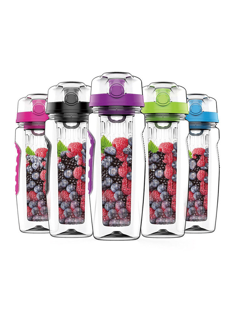 BPA Free Fruit Infuser Sports Fruit Column Kettle Plastic Fruit Cup 1000ML Lemonade Space Bottle