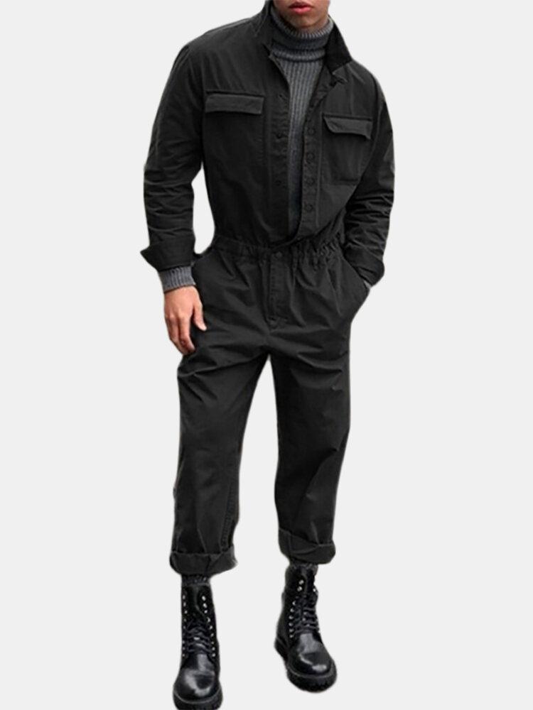 メンズコットン無地ラペルカラーカジュアルパーソナリティスリムフィットジャンプスーツ