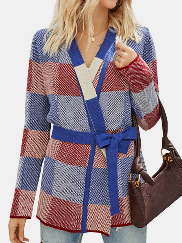 Color Block Knotted Knit Sweater Cardigan Casual Jacket