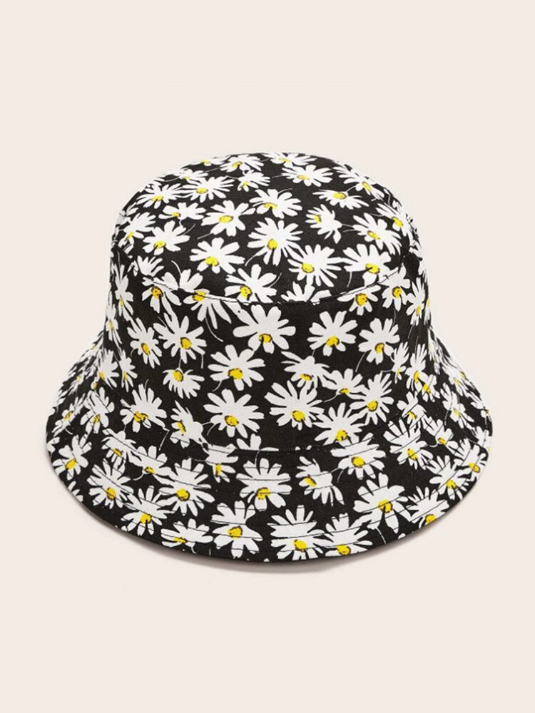 Small Chrysanthemum Print Double-sided Wearing Fisherman Hat Outdoor Sun Hat Female Leisure Basin Hat
