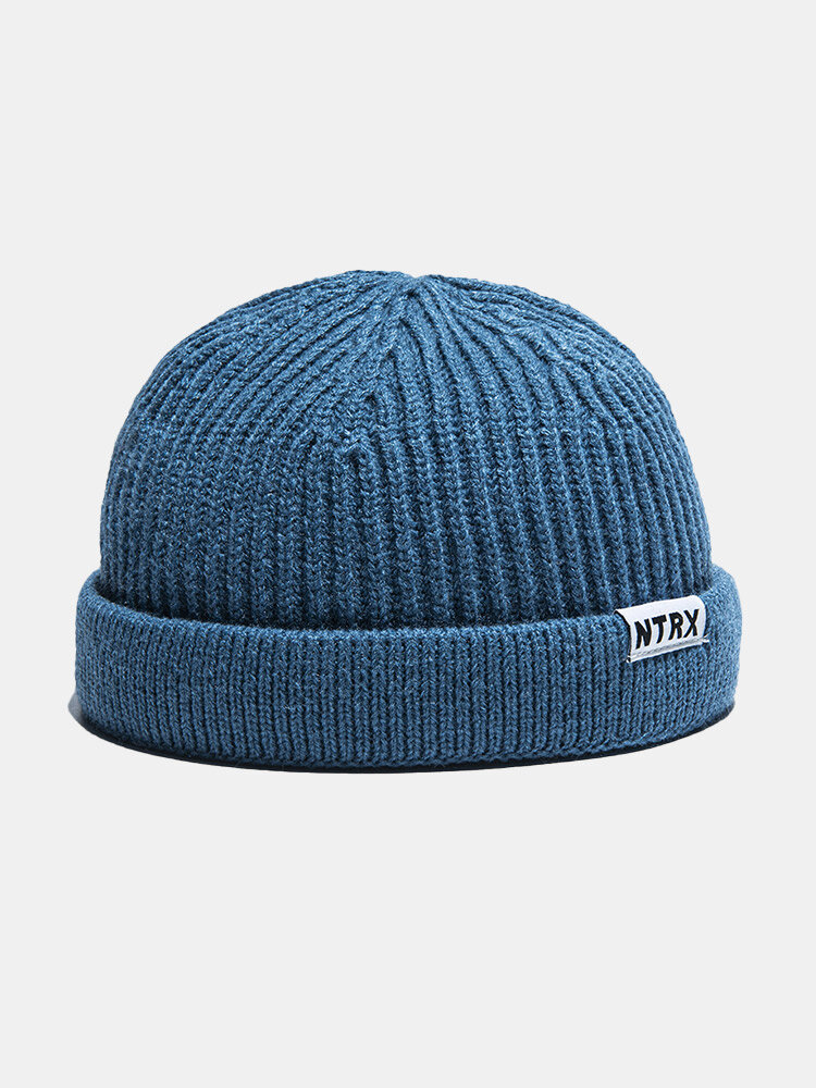 Unisex Knitted Solid Color Letter Patch All-match Warmth Brimless Beanie Landlord Cap Skull Cap