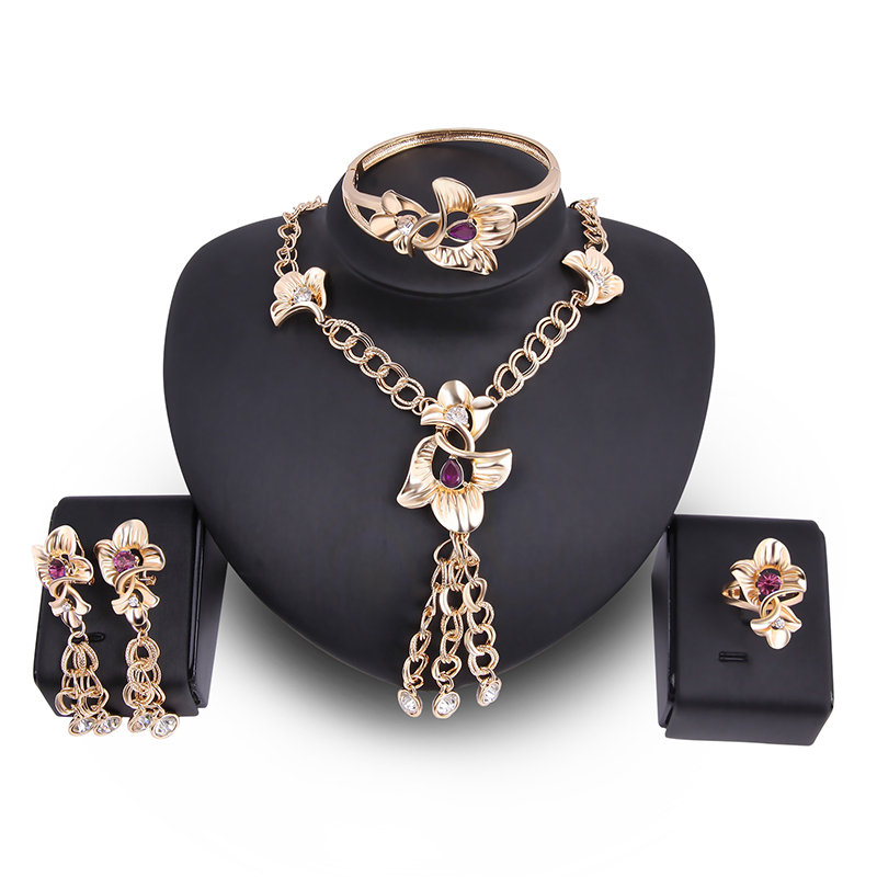 Luxury Flower Tassels 18K Gold Plated Chain Cryastal Bridal Jewelry Sets Gift for Women