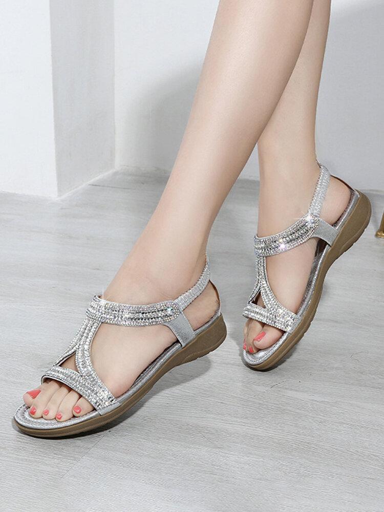 Shiny Rhinestone Holiday Elastic Band Comfortable Sandals For Women