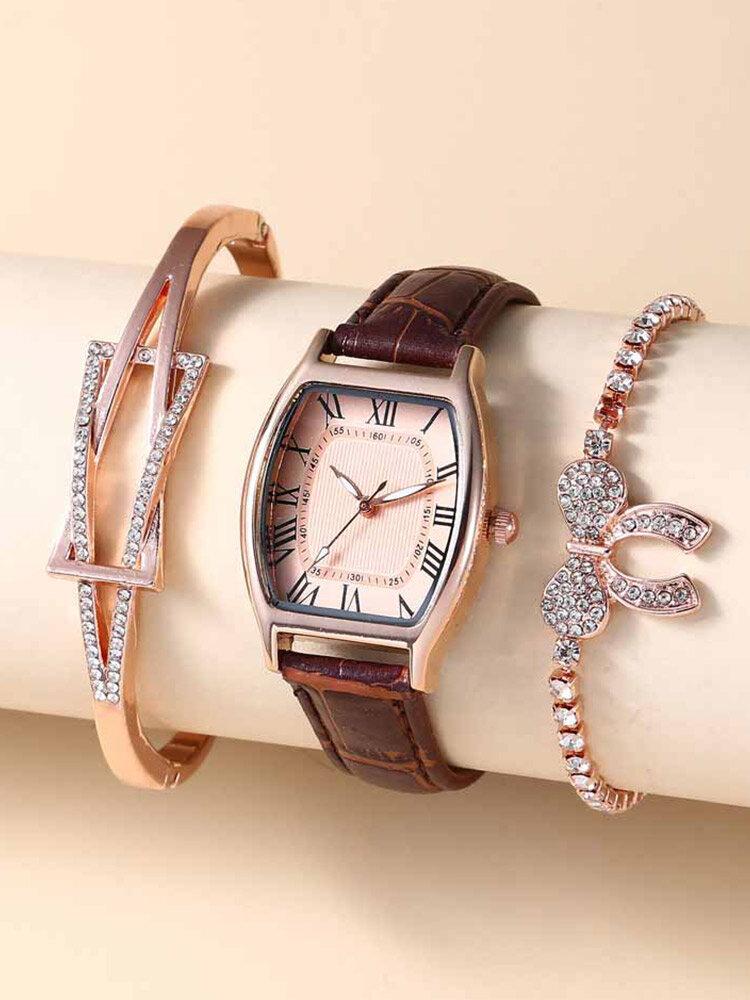 3 Pcs/Set PU Alloy Women Business Casual Watch Decorated Pointer Quartz Watch Bracelets