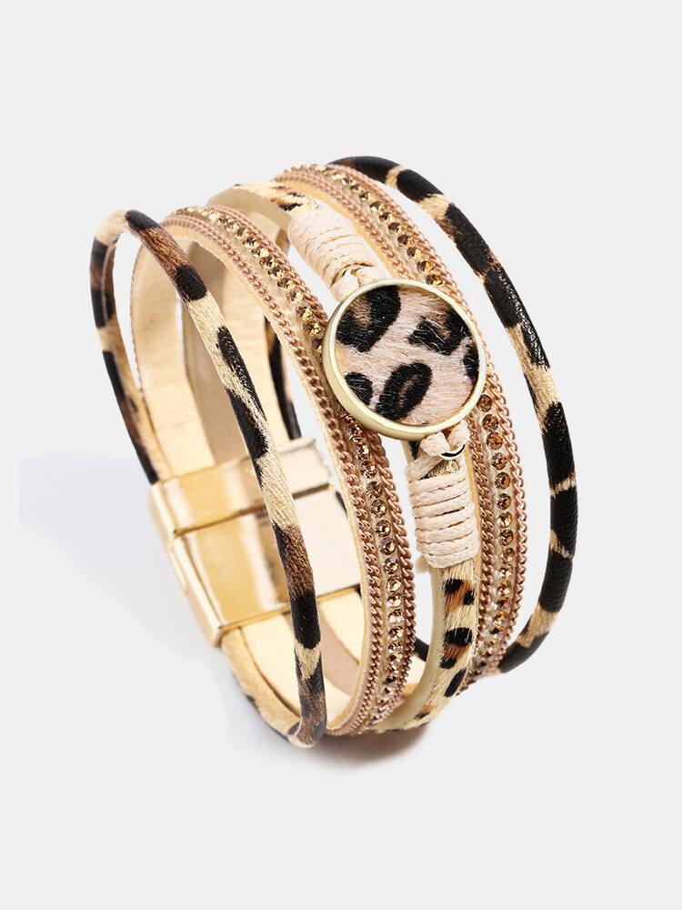 Ethnic Multilayer Leopard Women Bracelet Horsehair Magnetic Buckle Yoga Bracelet