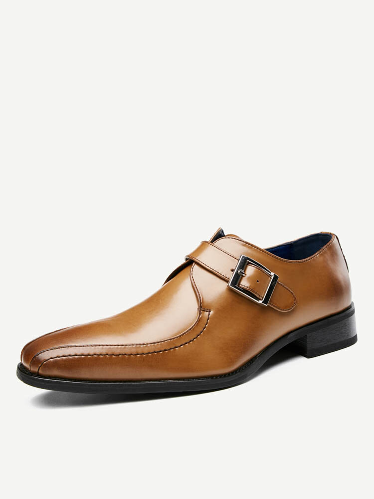 Men Leather Metal Buckle Non Slip Business Casual Formal Dress Shoes