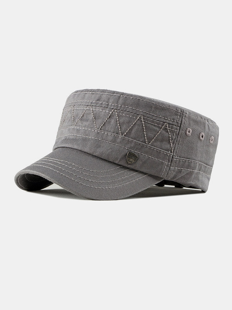 Men Cotton Linen Solid Color Label Stitching Outdoor Sunshade Casual Military Cap Flat Cap