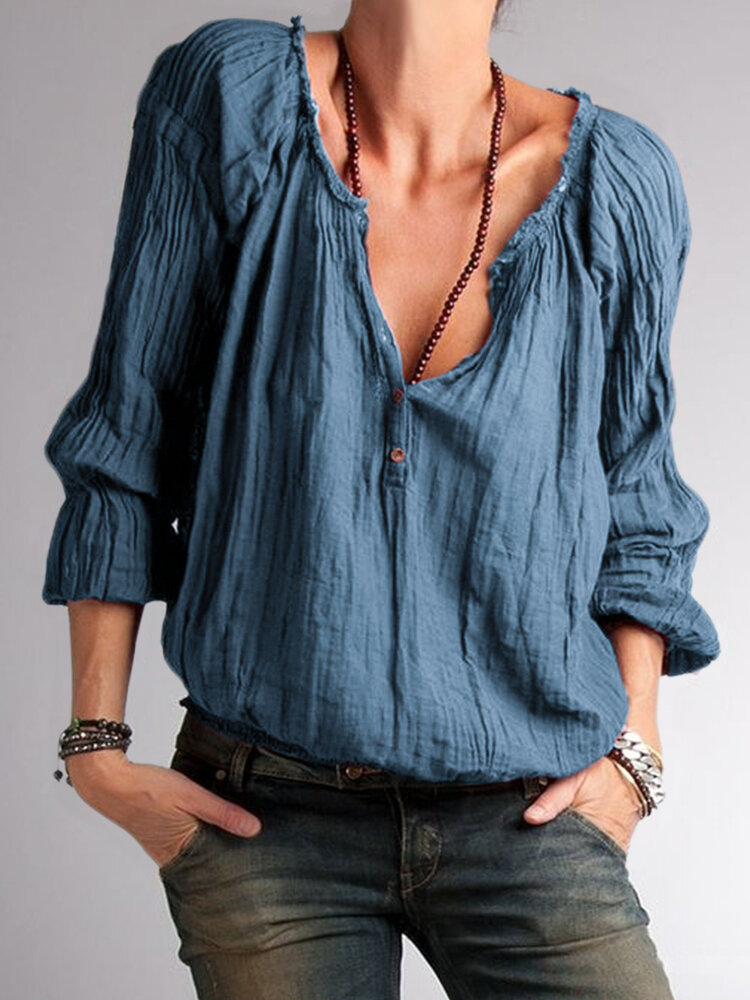 Solid Color Ruffled Button Long Sleeve Blouse For Women