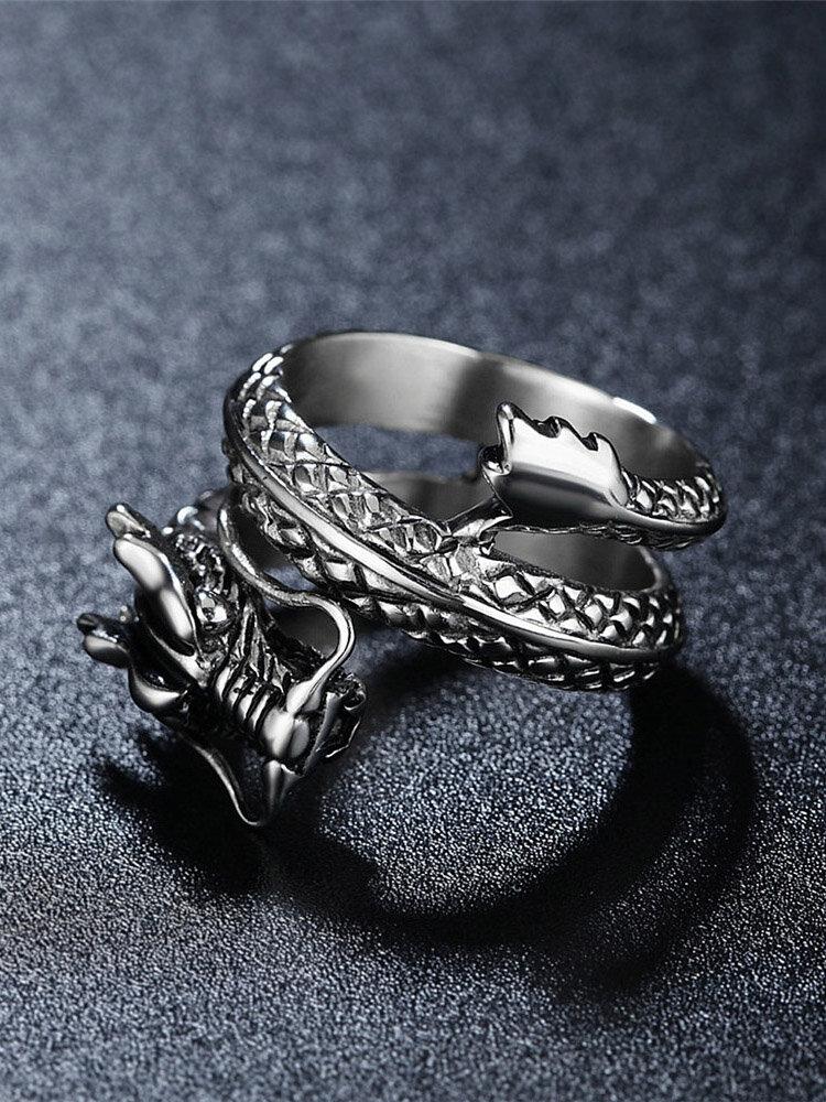 ヴィンテージ指リング中国のドラゴン多層ステンレス鋼リング男性用エスニックジュエリー