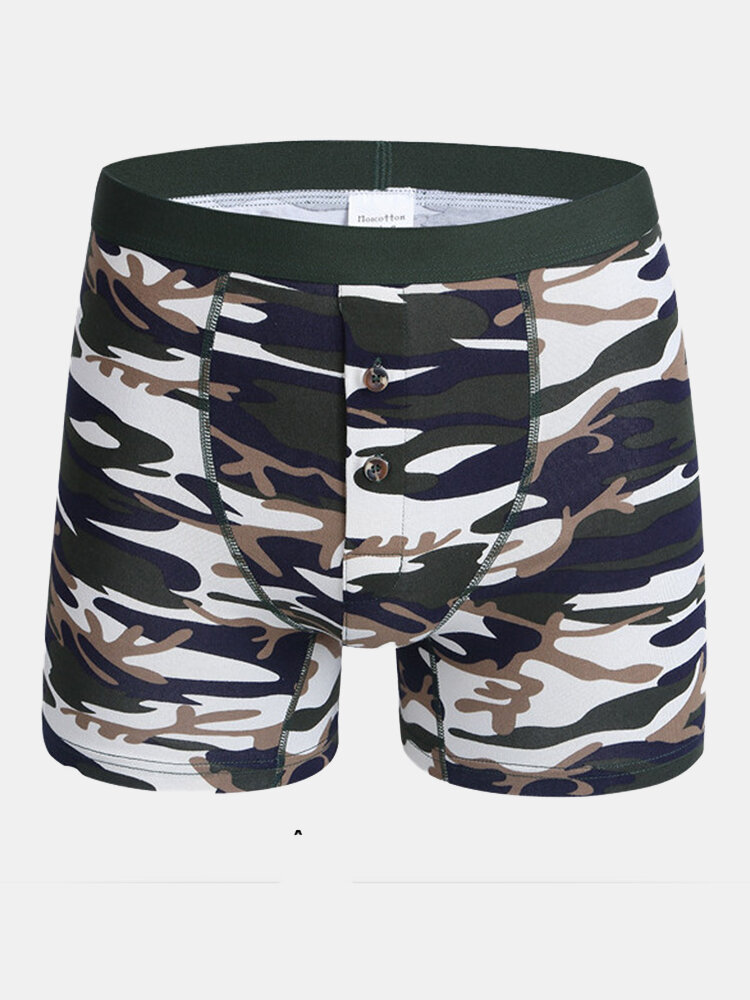 Cotton Camo Compression Printing Front Rise Opening Mid Waist U Shaped Boxers for Men