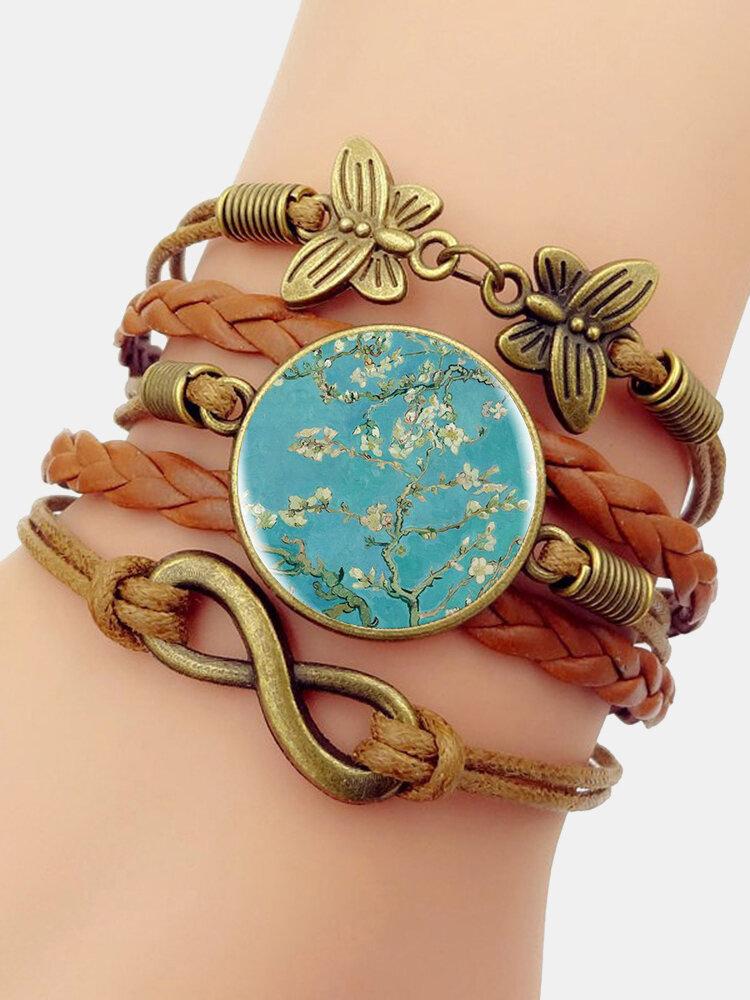 Vintage Plum Blossom Pattern Print Butterfly Braided Gemstone Multi-layer Bracelet