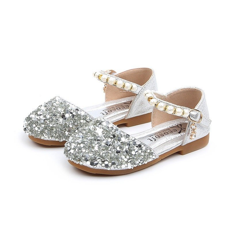 Girls Sequined Pearls Decor Hook Loop Shining Princess Flat Shoes