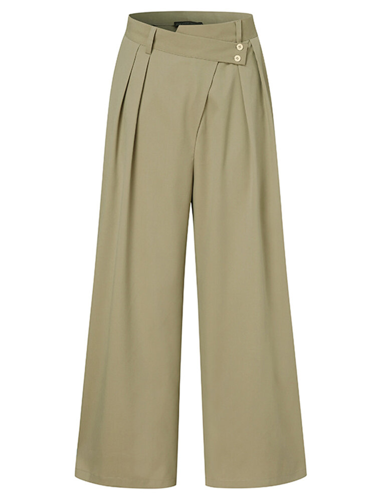 Solid Color Zip Frint Pocket Loose Casual Pants For Women