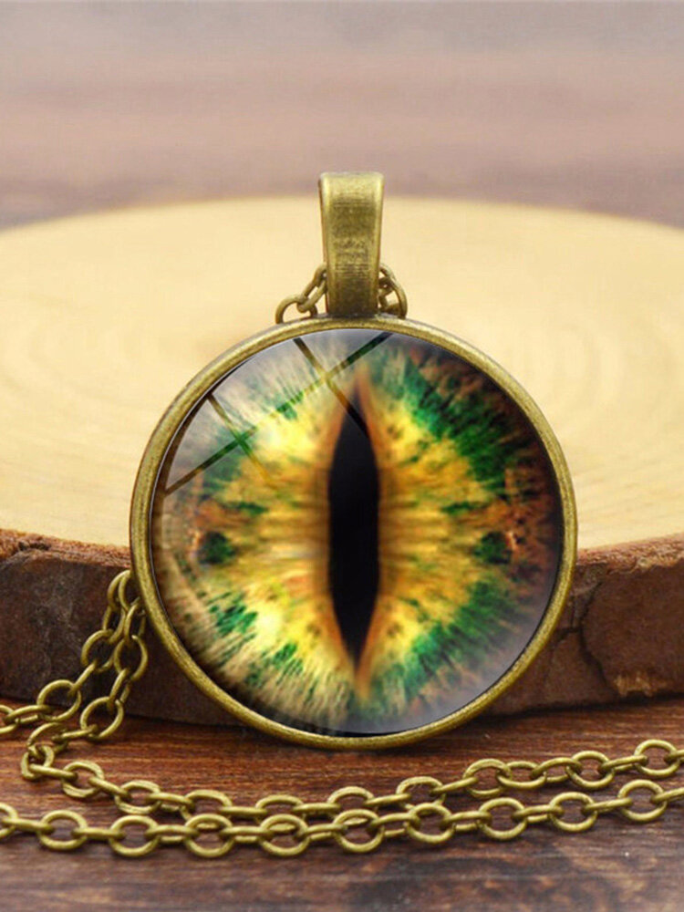 Vintage Gemstone Glass Printed Women Necklaces Cat Eye Pendant Sweater Chain