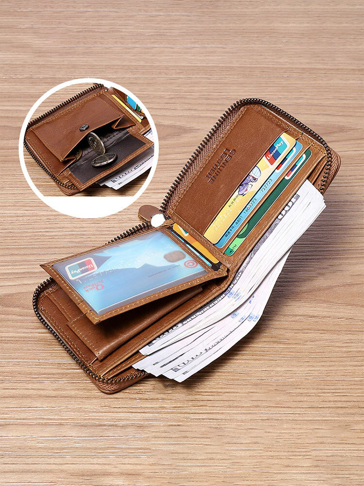 Men Genuine Leather Chains Money Clips Coin Purse Wallet