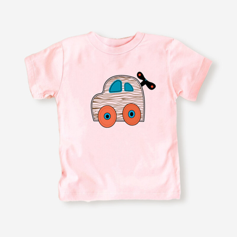 Girl's and Boy's Cartoon Car Print Short Sleeves Casual T-shirt For 1-8Y