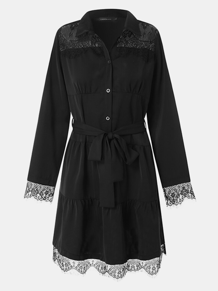 Lace Patchwork Solid Color Lapel Long Sleeve Knotted Button Dress With Belt
