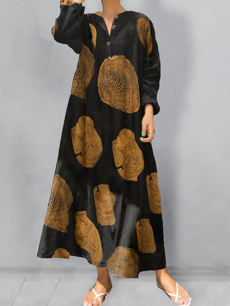 Wood Grain Print Button V-neck Plus Size Dress