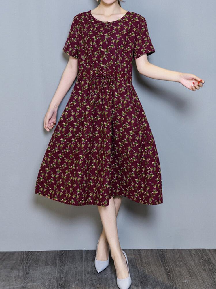 Casual Floral Print Pocket Short Sleeve O-neck Dress For Women