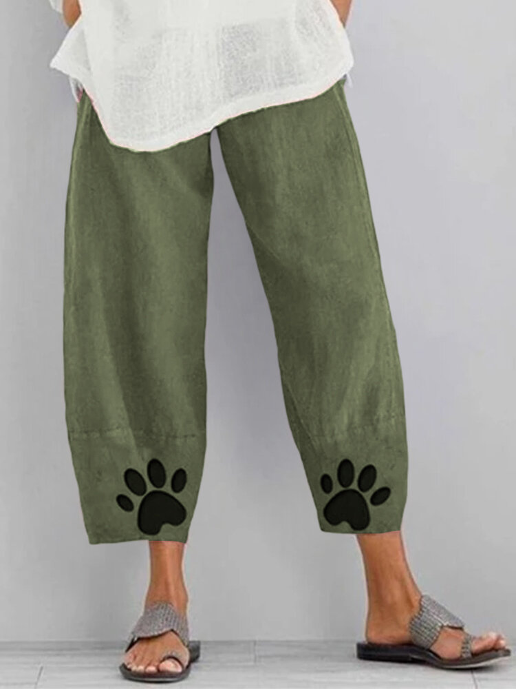Paw Printed Elastic Waist Casual Pants For Women