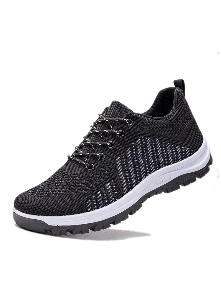 Men Breathable Knitted Fabric Side Stripe Soft Casual Walking Shoes