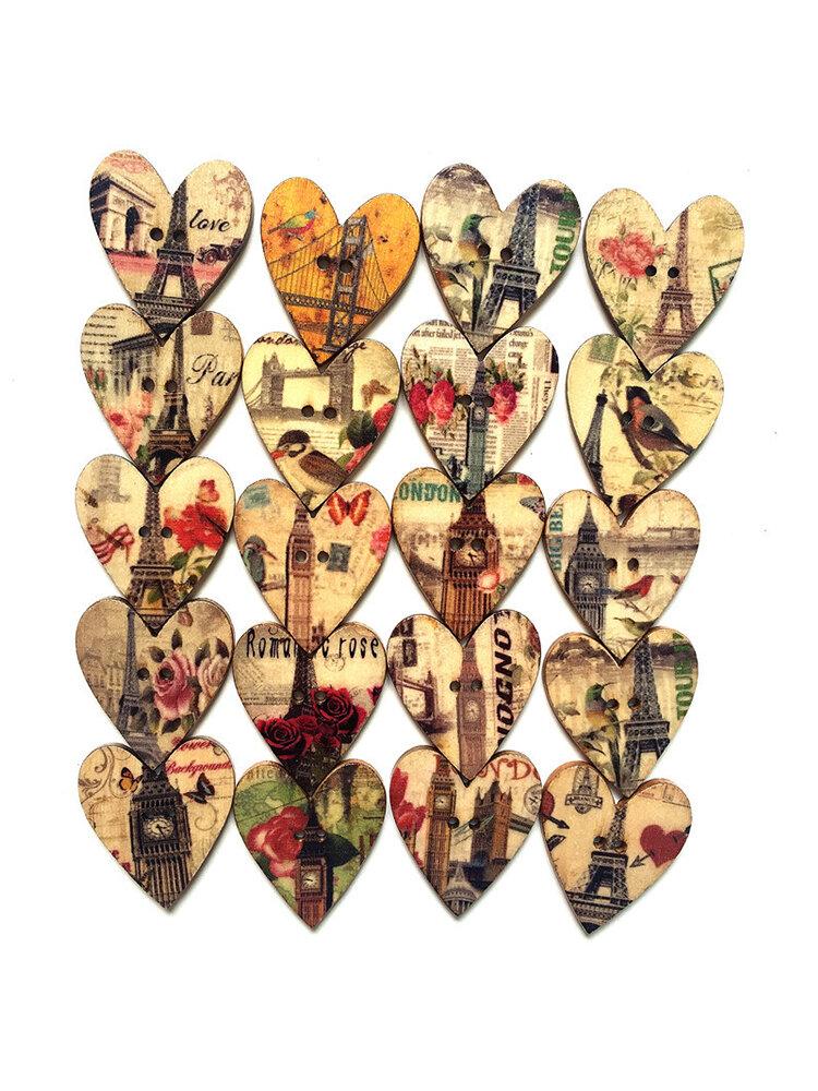 Bottone di legno da cucito a forma di cuore