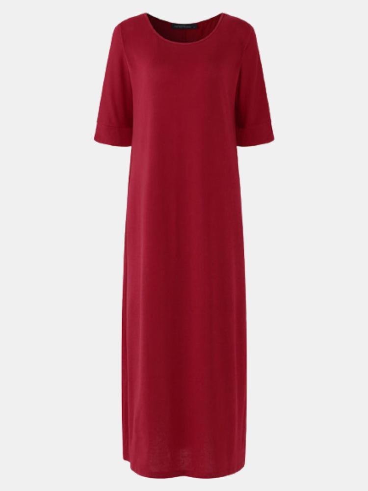Solid Color O-neck High Slit Plus Size Dress for Women