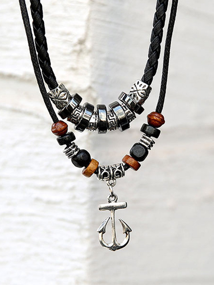 Vintage Trendy Anchor Ring Shape Pendant Wooden Beads Alloy Double-layer Necklace