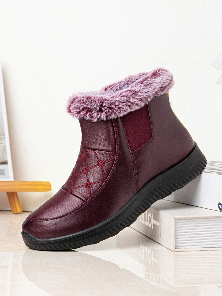 Women Comfy Warm Lining Slip Resistant Flat Ankle Cotton Boots