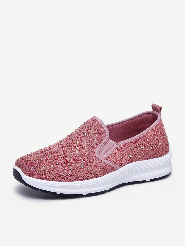 Women Casual Breathable Knitted Fabric Soft Sole Flat Walking Sneakers