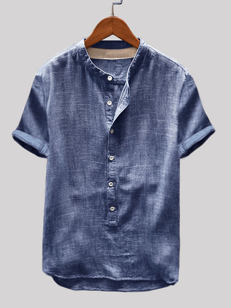 Mens Cotton Linen Vintage Solid Stand Collar Casual Henley Shirt
