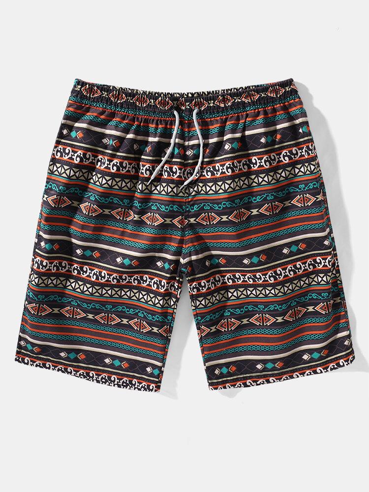 Mens Vintage Geo Print Ethnic Style Drawstring Mid Length Board Shorts
