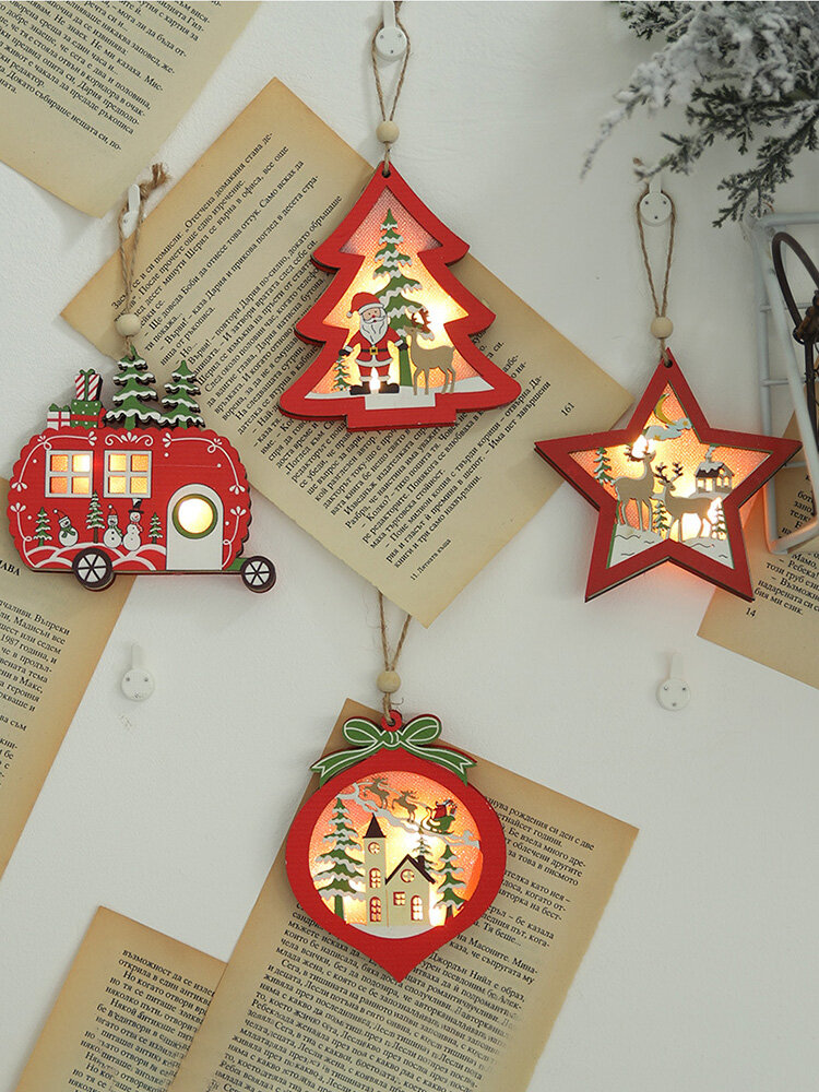 1Pc Christmas Ornaments With Light Hollow Wooden Pendants Creative Car Small Tree Ornaments