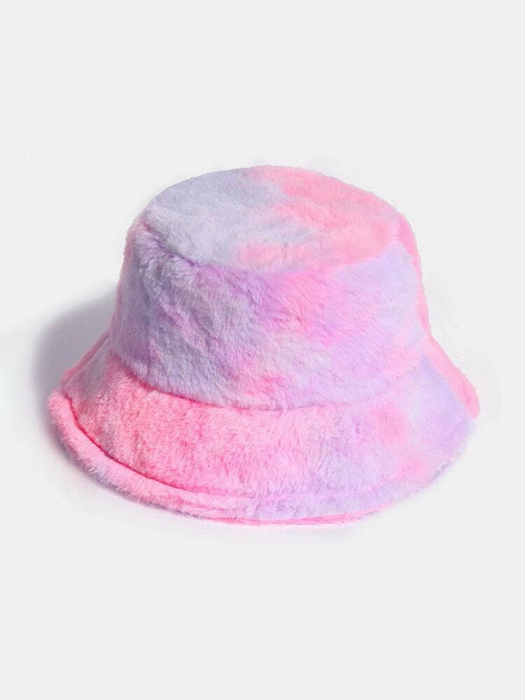 Donna Colorful Cappello secchio in peluche caldo Cappello da secchio elegante selvaggio sfumato esterno